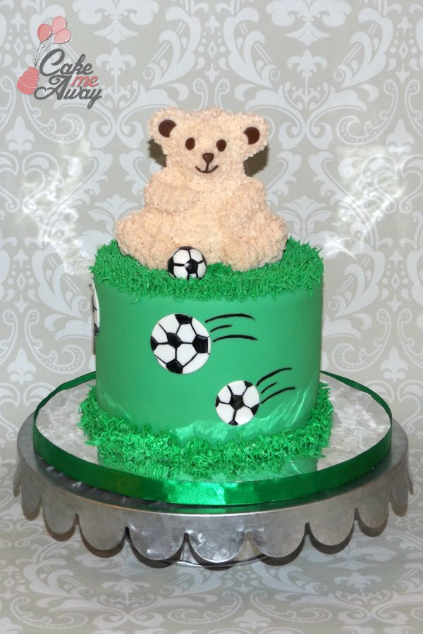 Soccer Teddy Bear Green Grass Cake