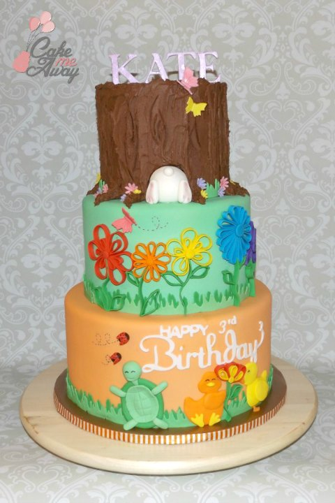 Spring Bunny Tree Trunk Orange Birthday Cake