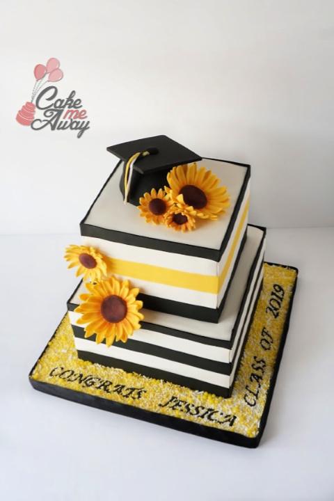 Sunflower Black And White Yellow Graduation Cake
