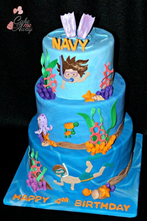 Swimming Pool Party Under the Sea Cake