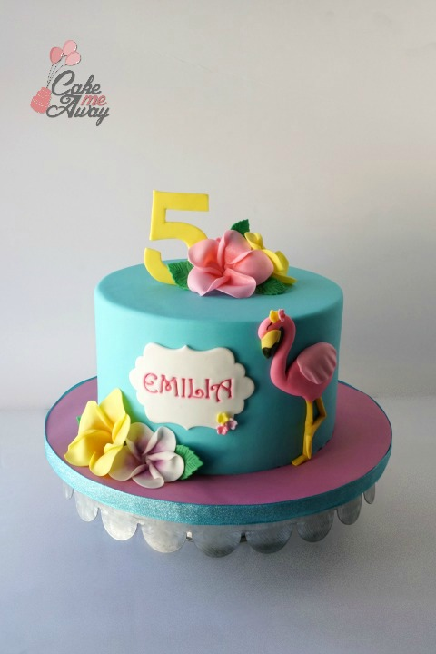 Teal Pink Flamingo Habiscuss Flowers Five Birthday Cake