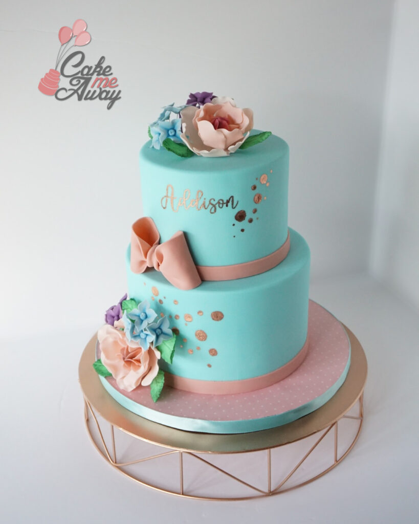Teal Pink Gold Flowers Bow Baby Shower Cake