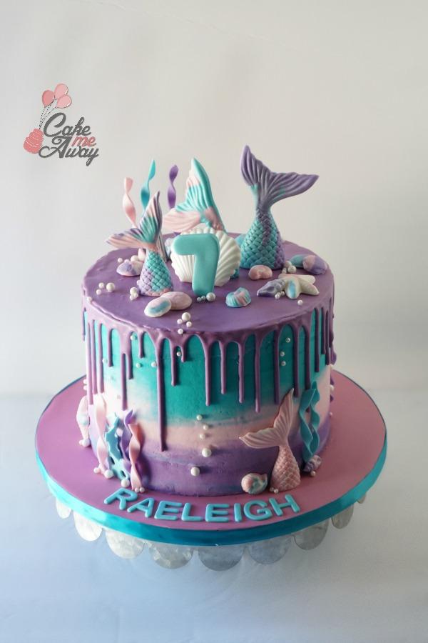 Teal Purple Pink Mermaid Tail Pearl Birthday Cake
