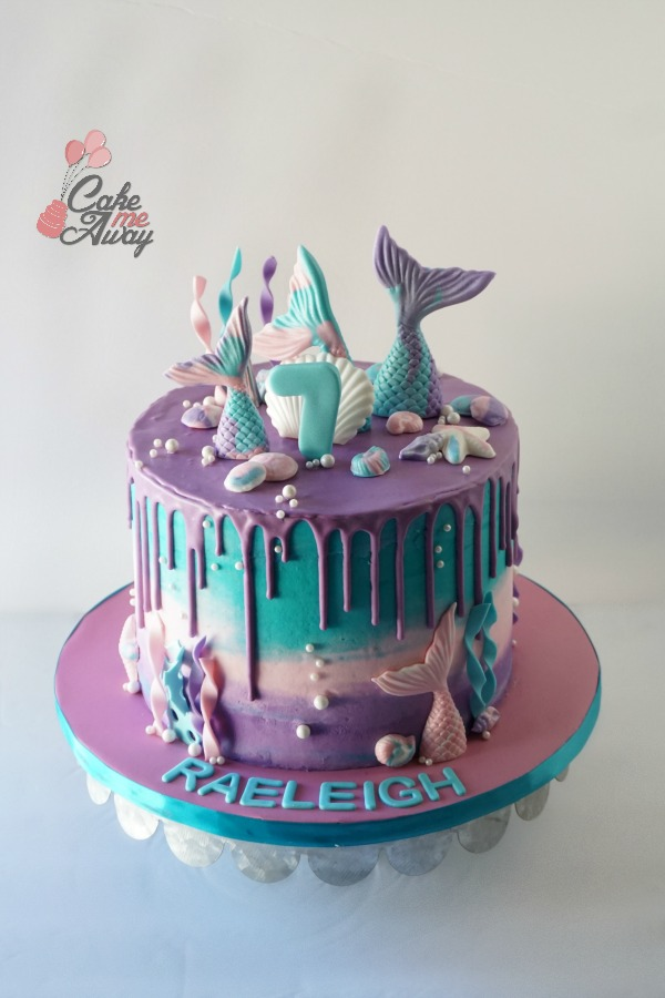 Teal Purple Pink Mermaid Tail Pearl Birthday Cake