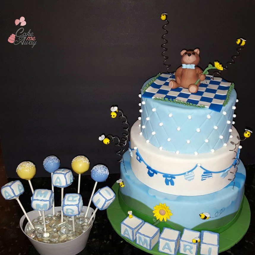 Teddybear Picnic Boy Baby Shower Cake and Cake Pops