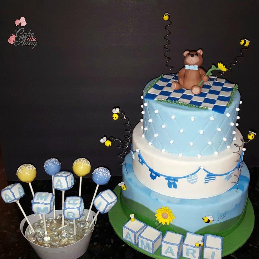Teddybear Picnic Boy Baby Shower Cake and Cake Pops