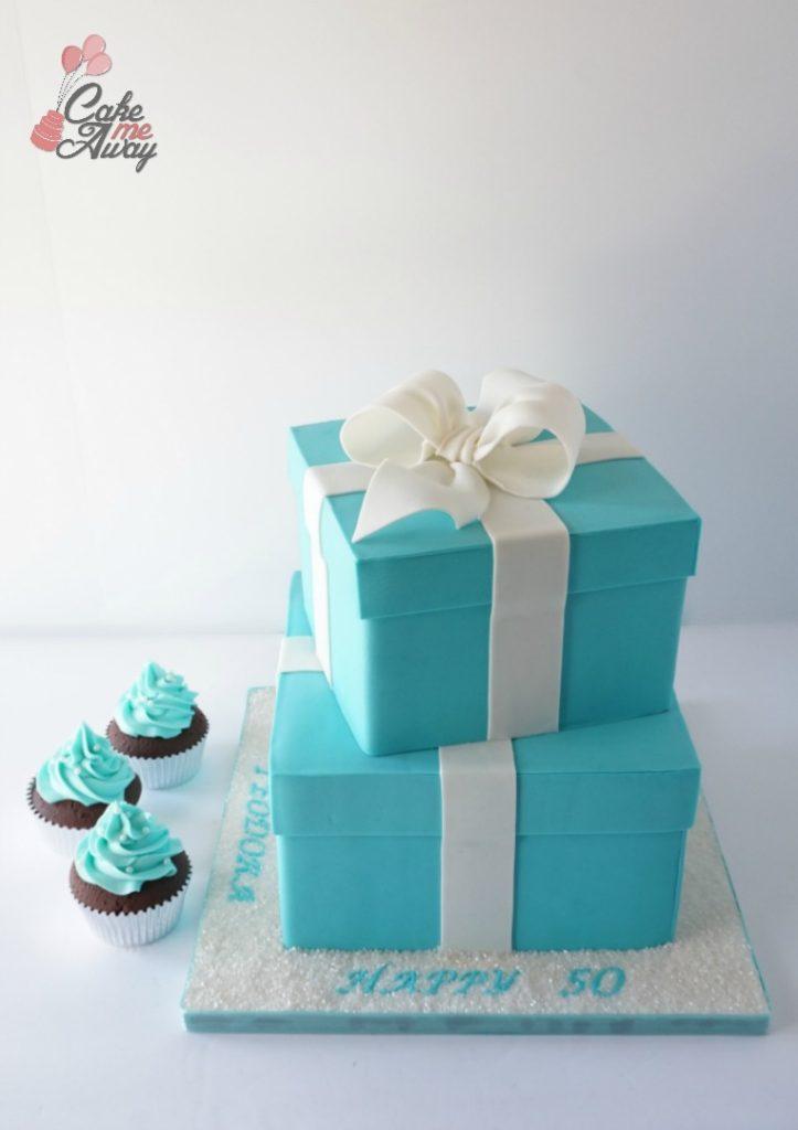 Tiffany Gift Box Bow Birthday Cake and Cupcakes NL