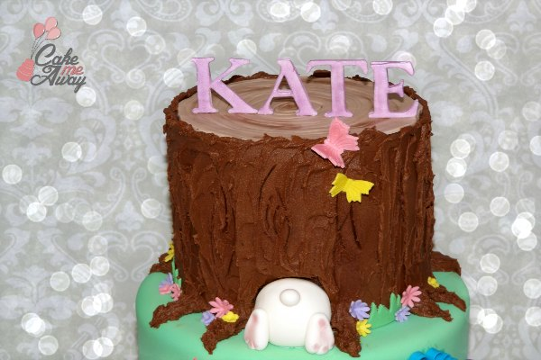 Tree Trunk Bunny Tail Birthday Cake