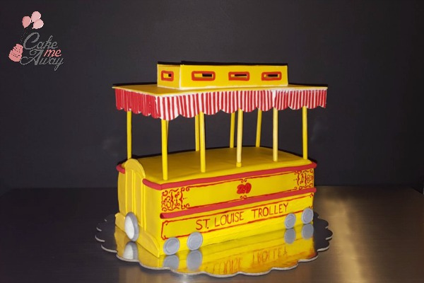 Trolley Train Front Birthday Cake