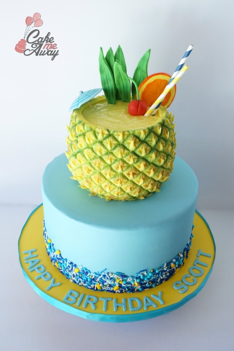 Tropical Pineapple Drink Blue Gold Birthday Cake