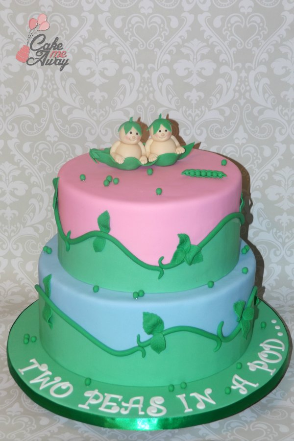 Two Twin Peas in a Pod Pink and Blue Baby Shower Cake