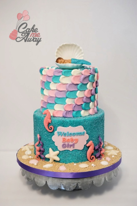 Under the Sea Mermaid Baby Shower Cake