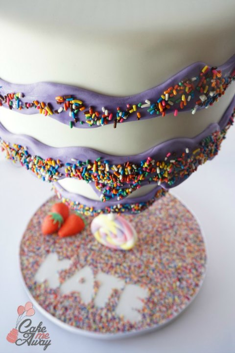 Upside down Purple Lollipop Birthday Cake Closeup