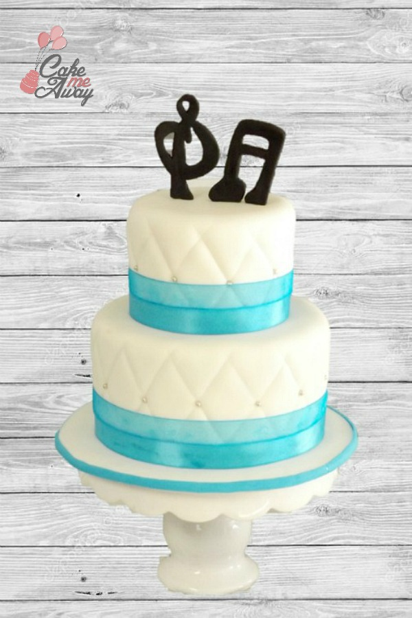 Wedding Anniversary Teal Music Notes Cake