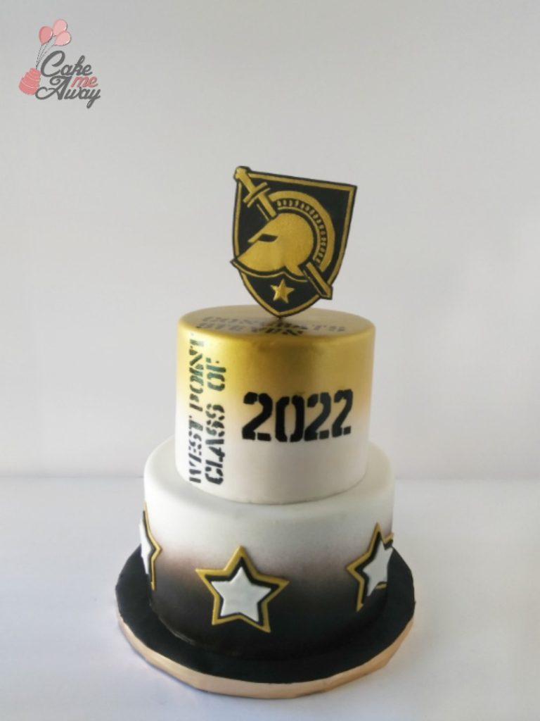 West Point Shield and Stars Gold Graduation Cake