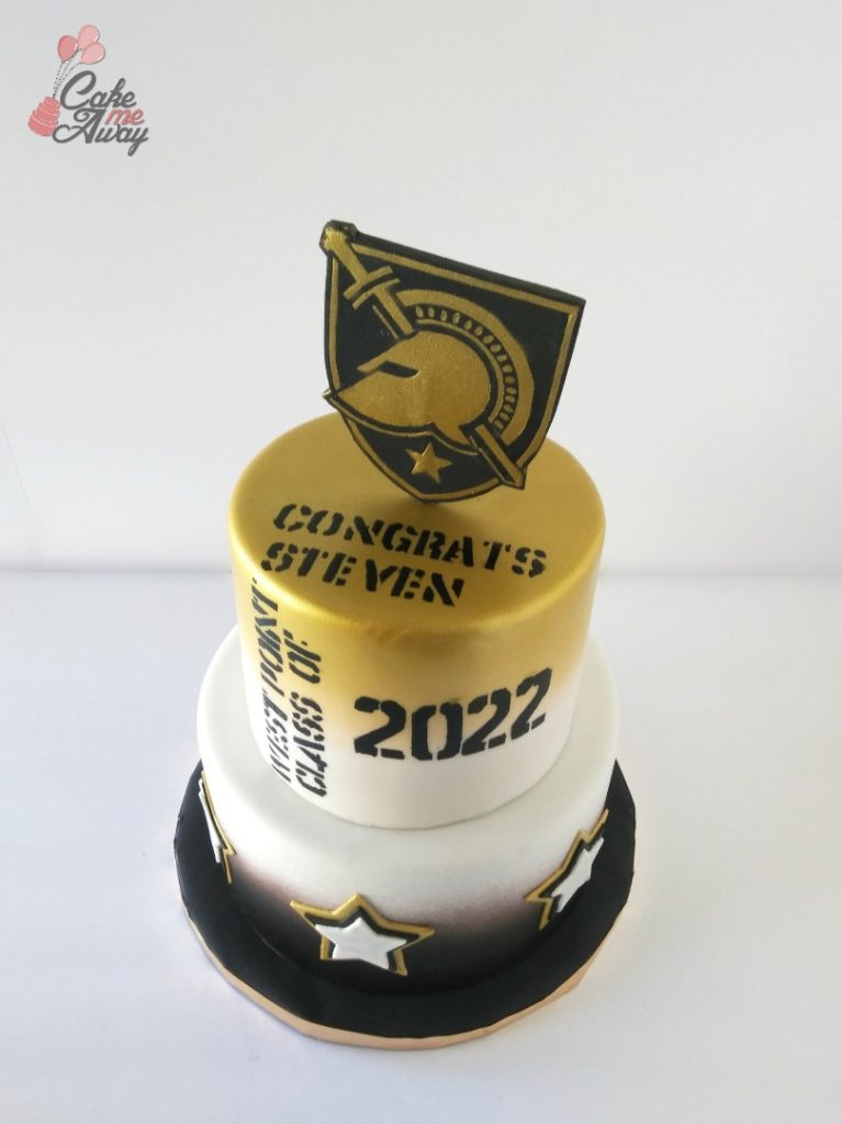 West Point Shield and Stars Gold and Black Graduation Cake