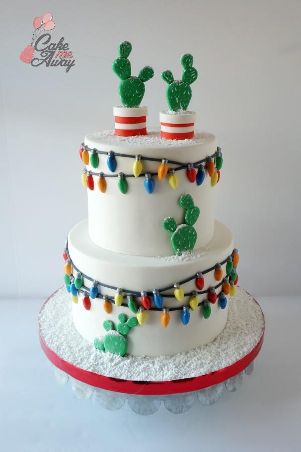 White Christmas Lights Winter Snow Cacti Birthday Cake