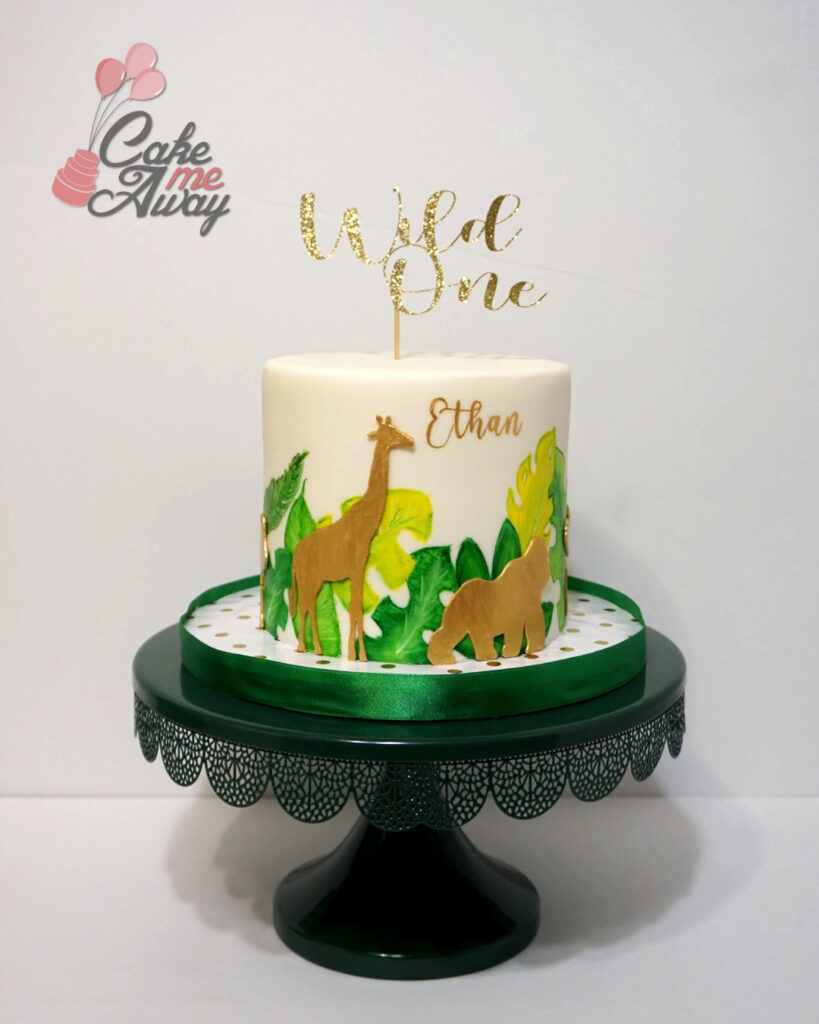Wild One Jungle Leaves Gold First Birthday Cake