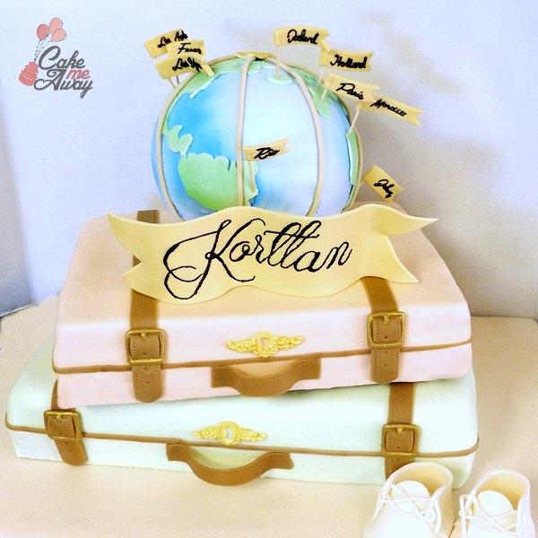 World Travel Suitcase Baby Shower Cake