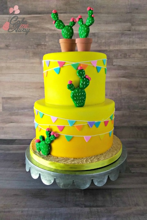 Yellow Hombre Cactus FLower Color Pennant Birthday Cake