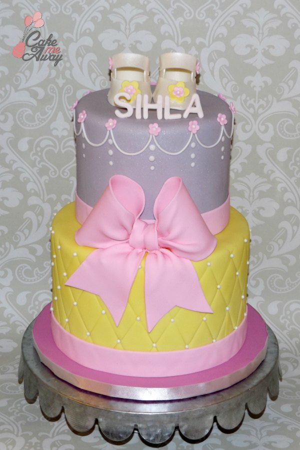 Yellow Pink Silver Shoes and Bow Baby Shower Cake