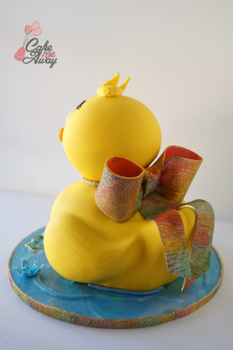 Yellow Rubber Duck Rainbow Bow Birthday Cake Back