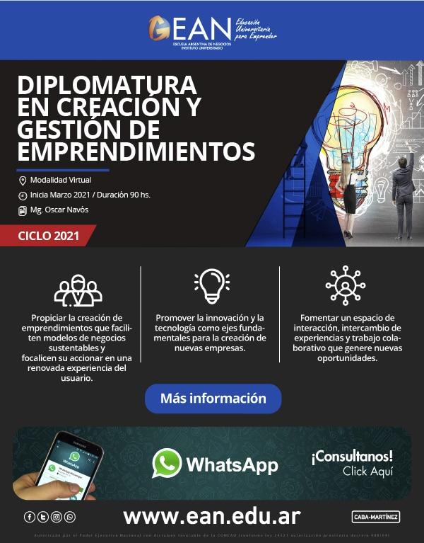 Diplomatura en creación y gestión de emprendimientos