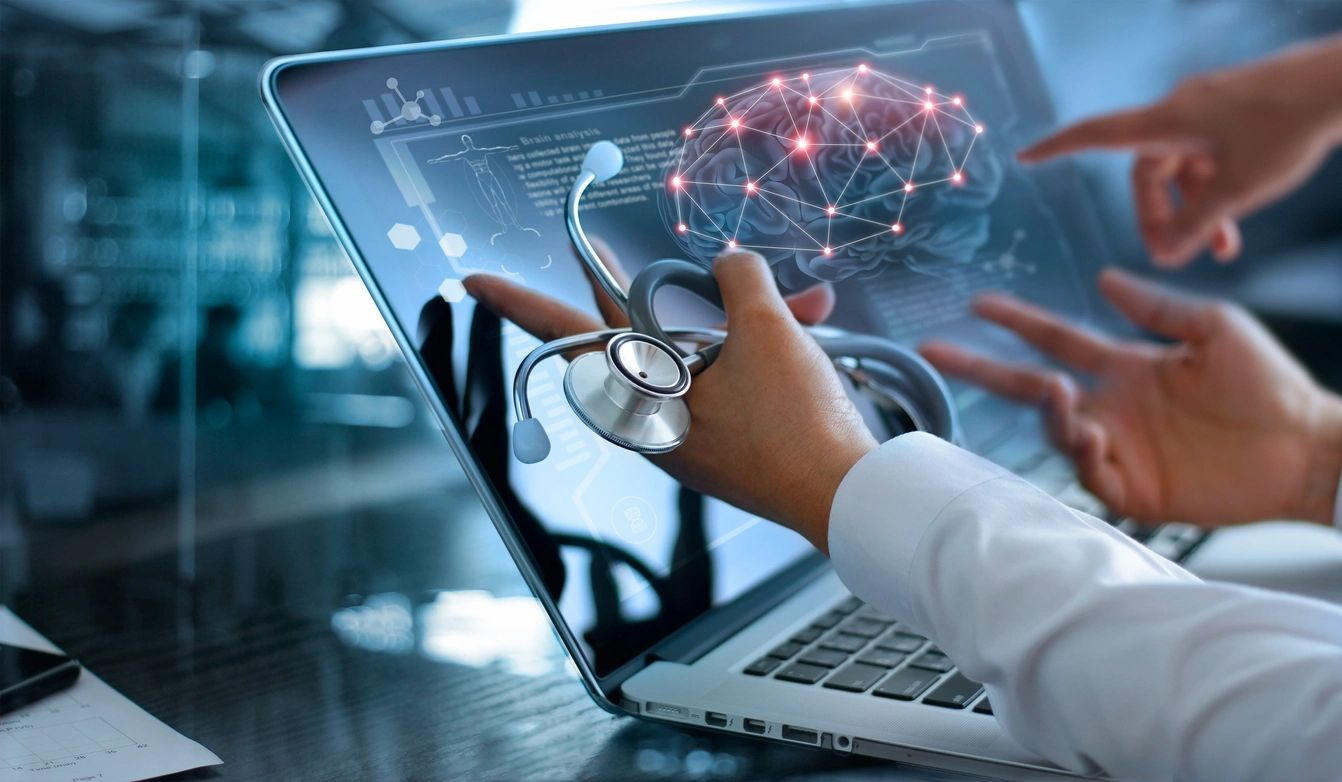 health data being reviewed on a laptop