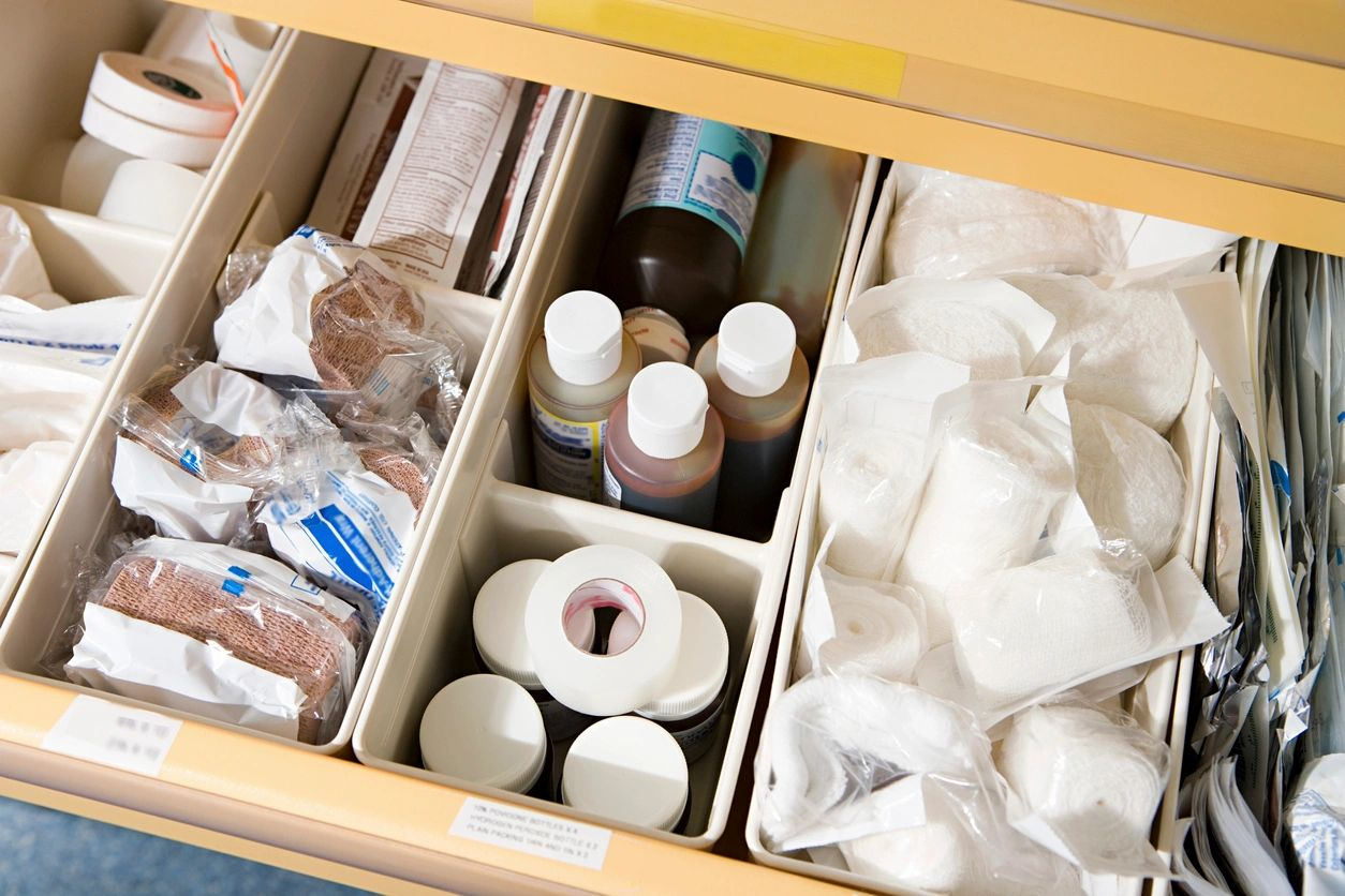 medical supplies in clinic drawer