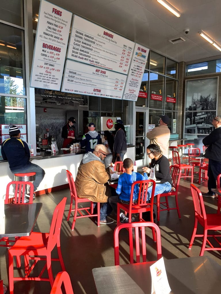 Customers enjoying a meal at Pick Quick's Auburn location.