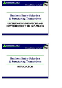 Icon of CLE-Slides Business Entity Selection & Structuring Transactions