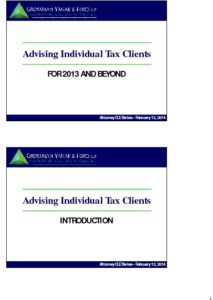 Icon of CLE-Slides Advising Tax Clients for 2013 & Beyond