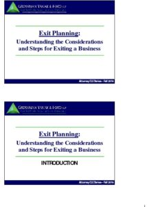 Icon of CLE-Slides Exit Planning