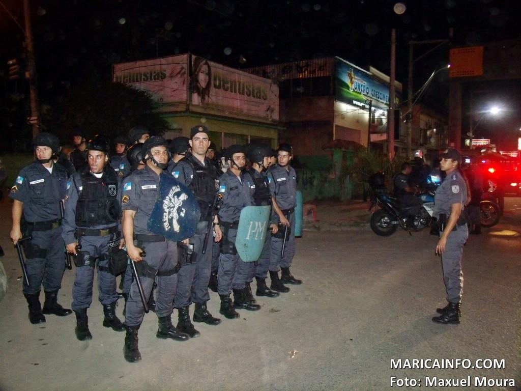 Força de Choque do 12º BPM foi enviada até o local da manifestação em Inoã. (Foto: Maxuel Moura | Maricá Info)