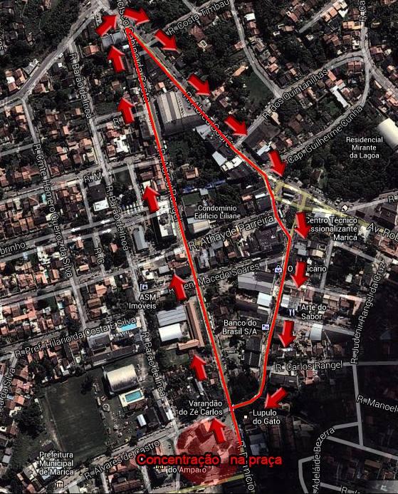 Rota da manifestação em Maricá. (Foto: Google Maps)