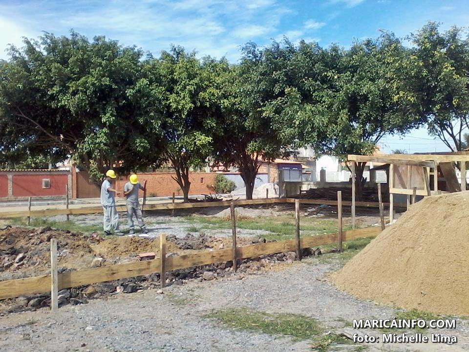 Posto de saúde está sendo construído em Cordeirinho. (Foto: Michelle Lima | Maricá Info)