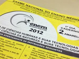 Prova amarela do primeiro dia do exame. (Foto: G1)