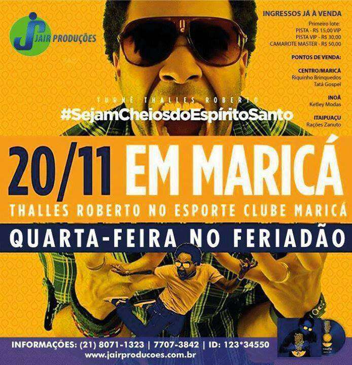 Thalles Roberto vem à Maricá para show inédito.