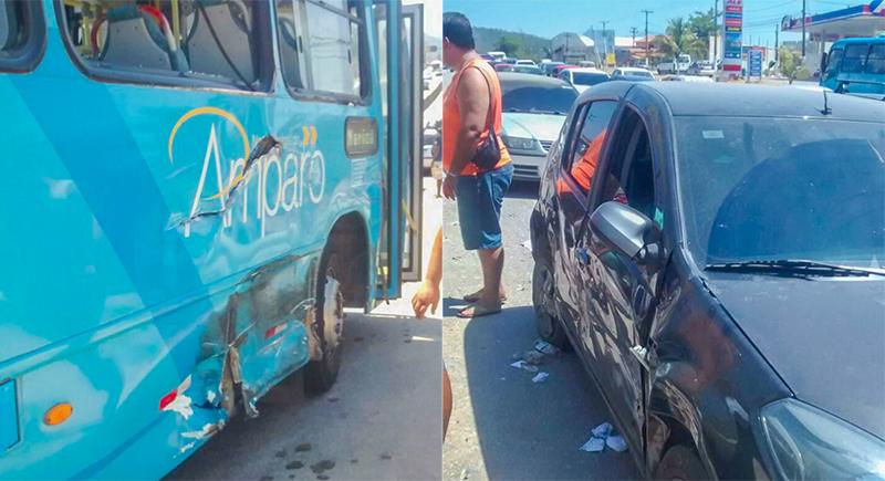 Ônibus da Viação Nossa Senhora do Amparo e um veículo de passeio foram atingidos.