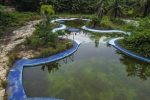 Piscinas abandonadas e cheias d'água. (foto: Thiago Freitas)
