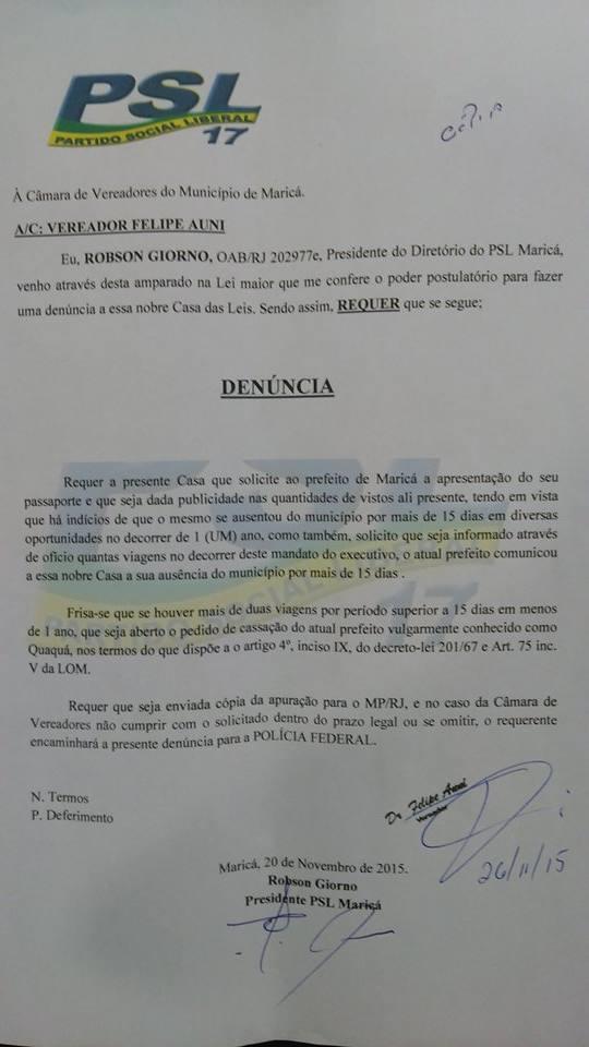 Documento foi protocolado na Câmara de Maricá.