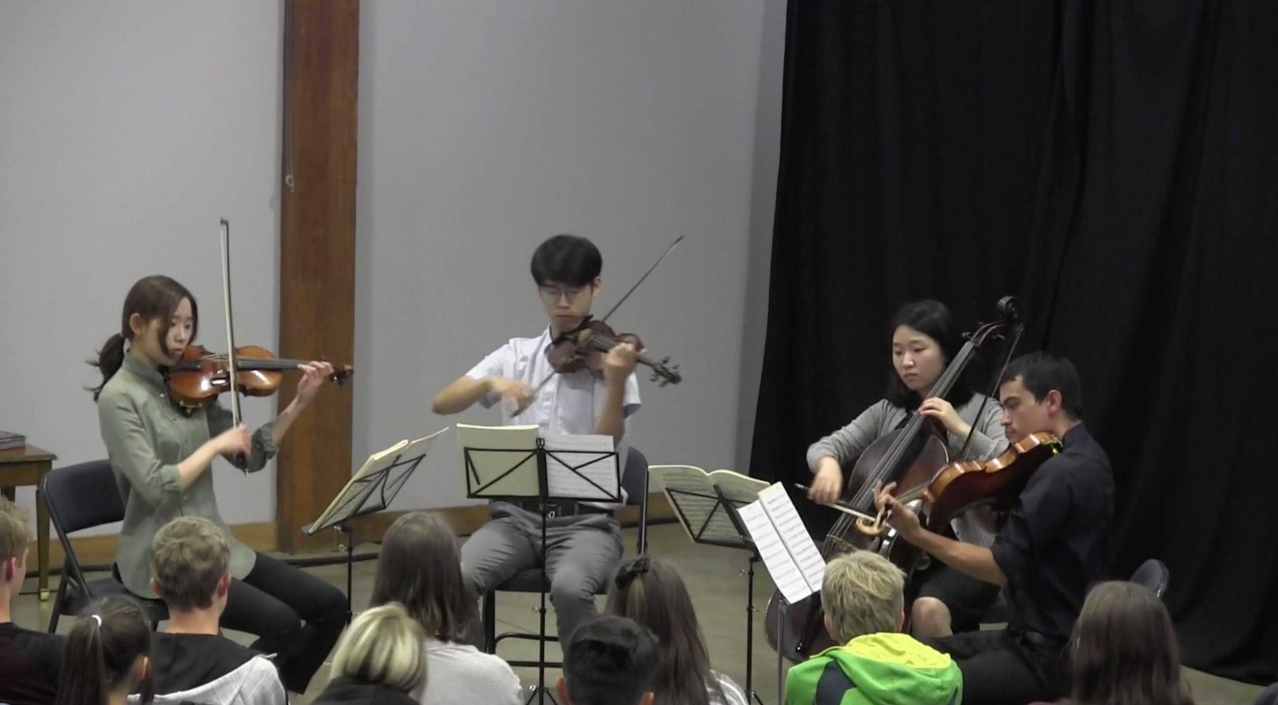 Young chamber music performers at Moreno Valley High