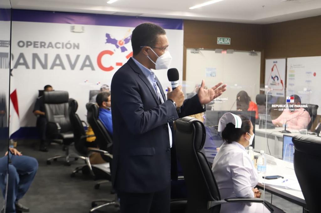 Alcalde Juan José Ayola sustentando el plan para la vacunación del Circuito 8-4, en calidad de coordinador del plan de vacunación #PANAVAC19 del Circuito 8-4.