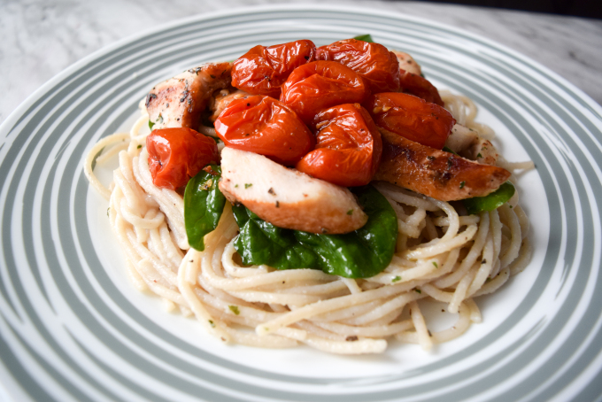 Brown Rice Spaghetti with roasted tomatoes