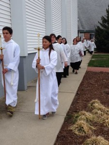 Procession to Bless the Homeless Jesus Sculpture