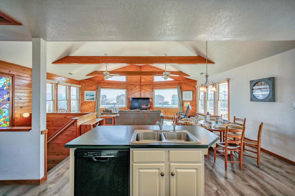 Kitchen adjacent to living area on main floor