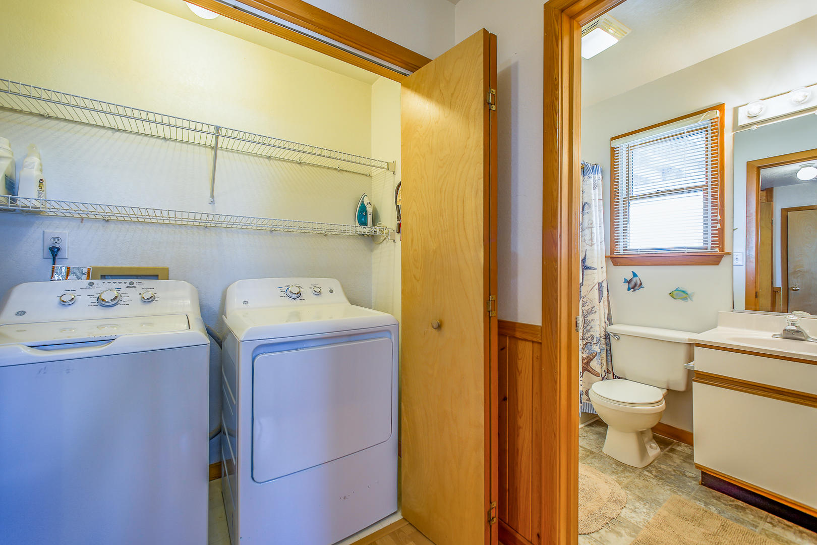 Laundry and Bathroom on mid-level