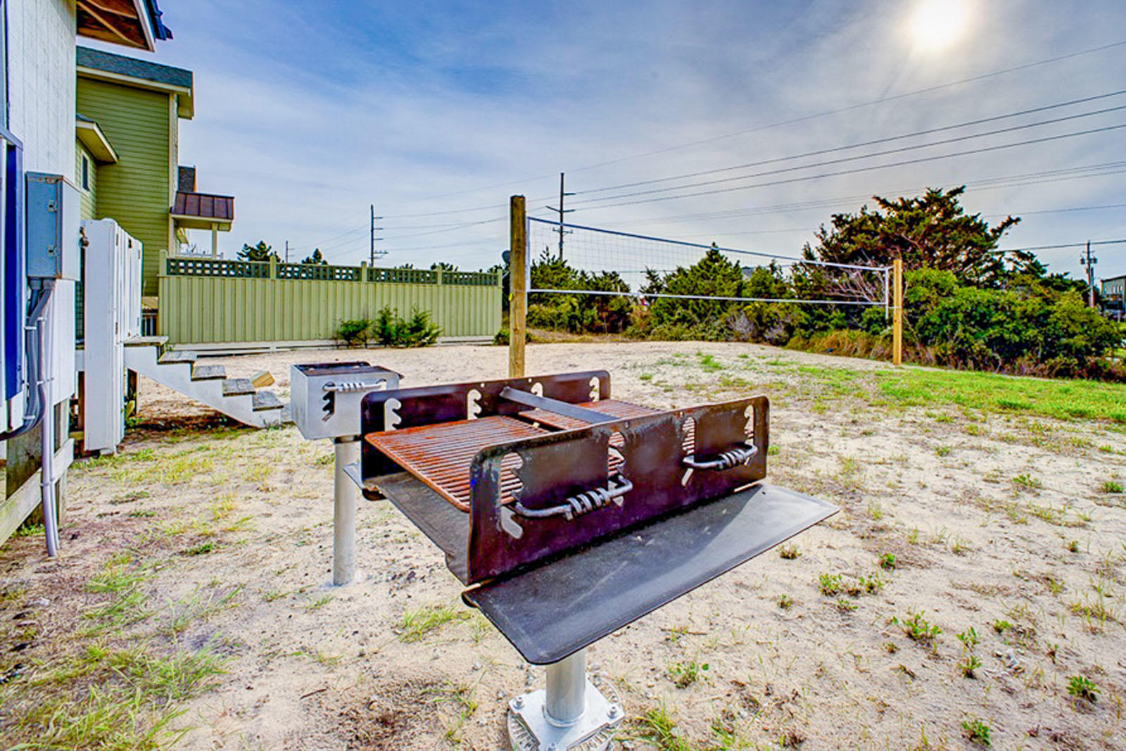Volley ball court and charcoal grills