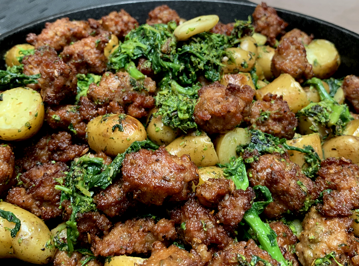 Fennel Sausage & Potatoes with Broccoli Rabe