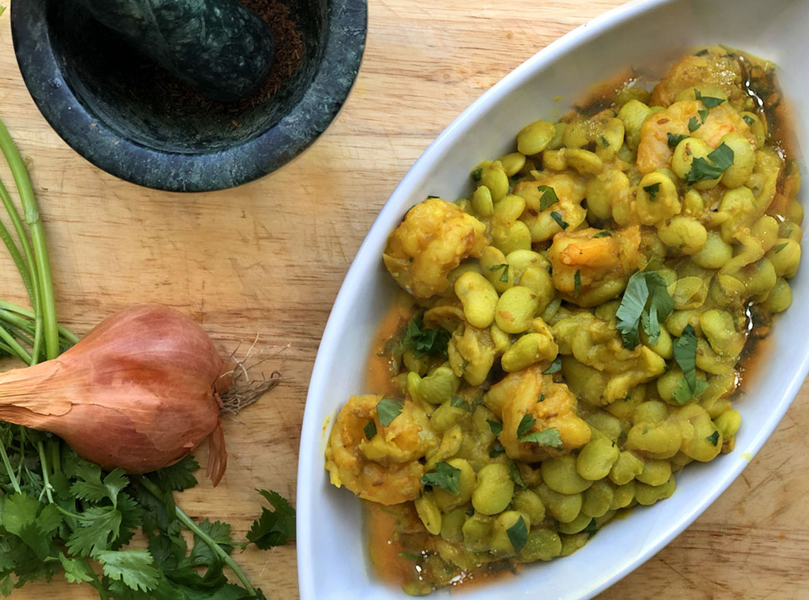 Bengali Style Lima Bean and Shrimp